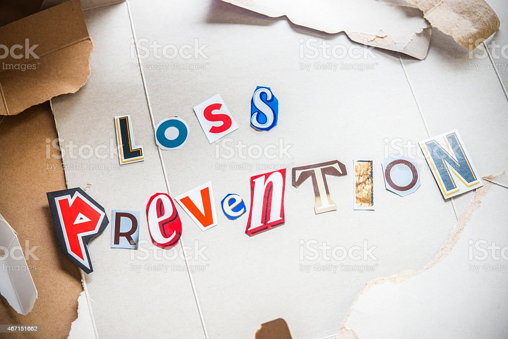 Loss Prevention spelled out in letters. stock photo