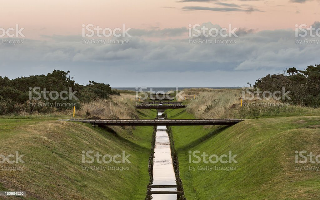 Lossiemouth, Golf Course Canal. stock photo