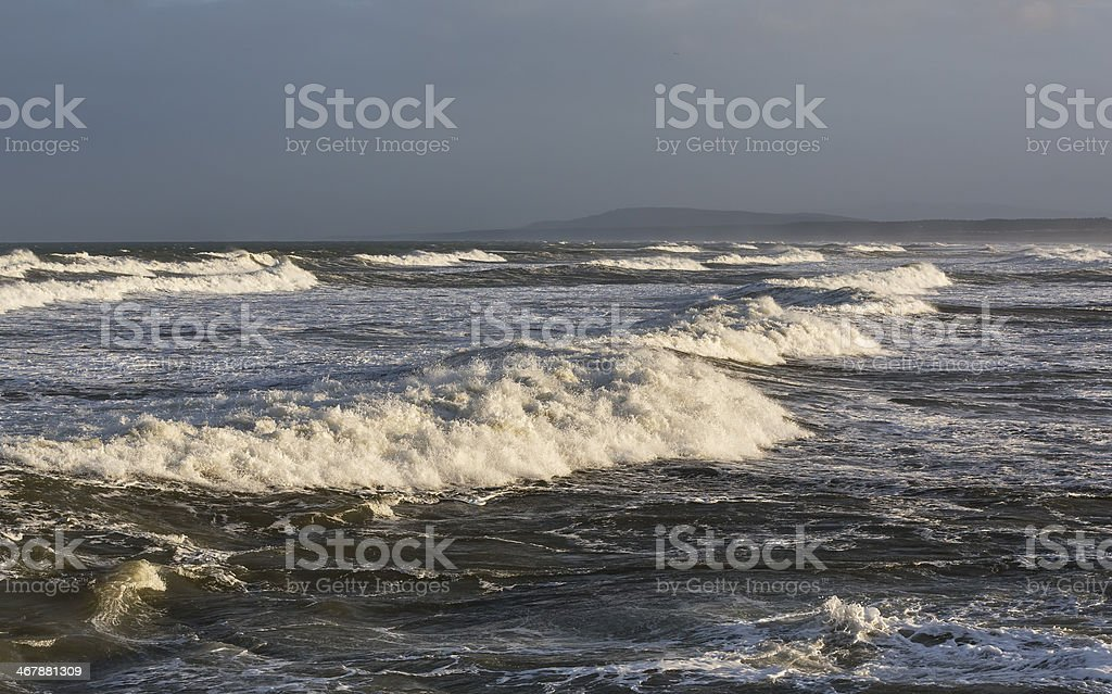 Lossiemouth waves in winter. stock photo