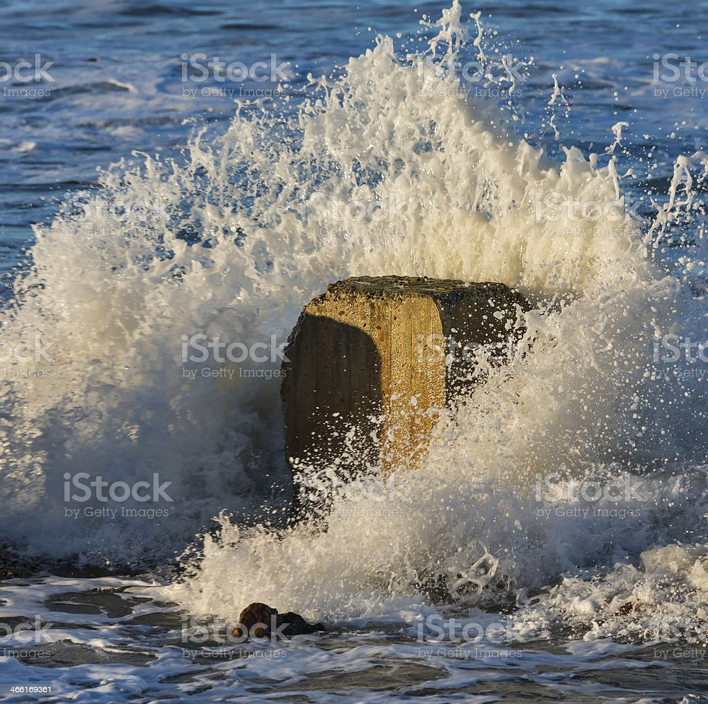 Lossiemouth winter wave. stock photo