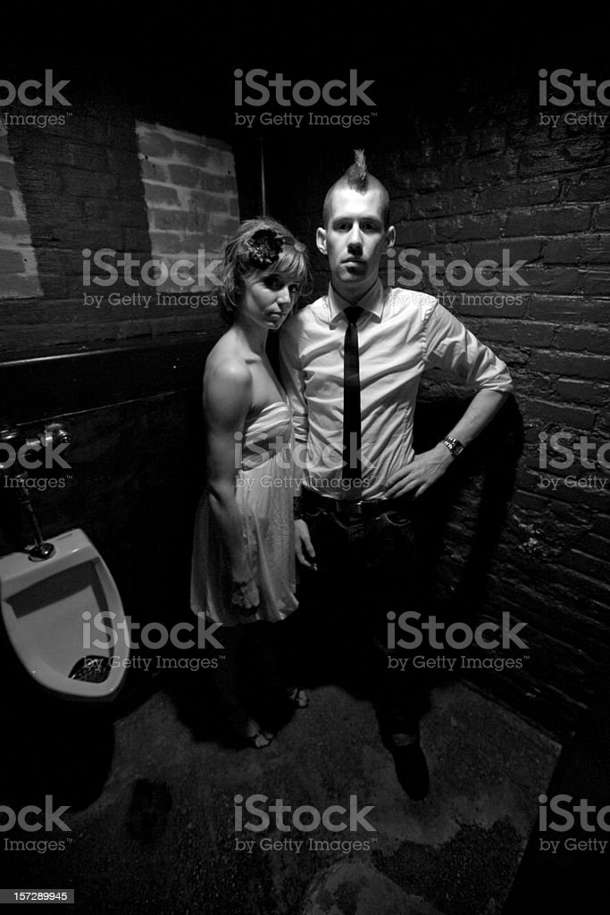 Lost and Found Couple Portrait BW royalty-free stock photo
