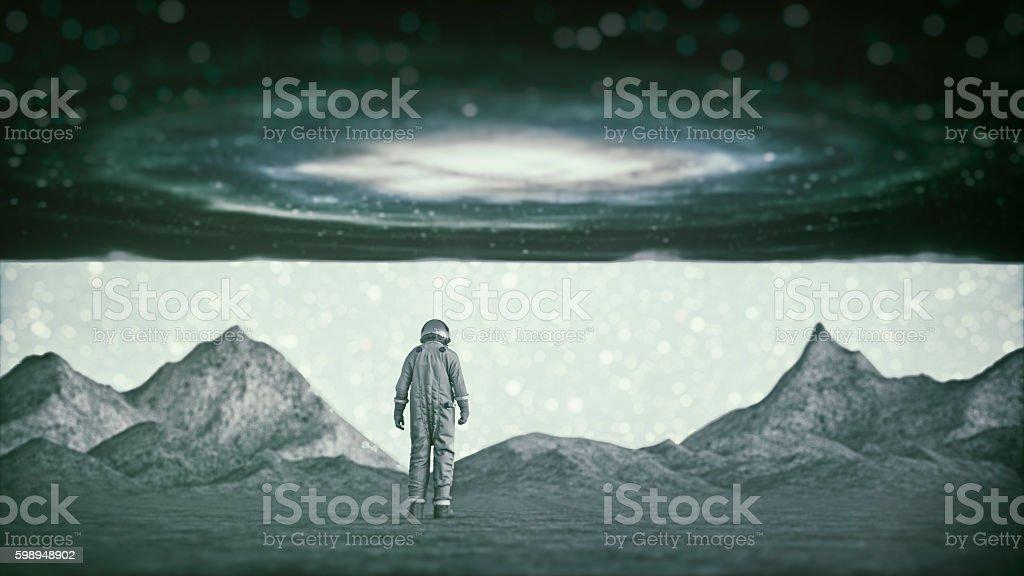 Lost astronaut on a distant planet stock photo