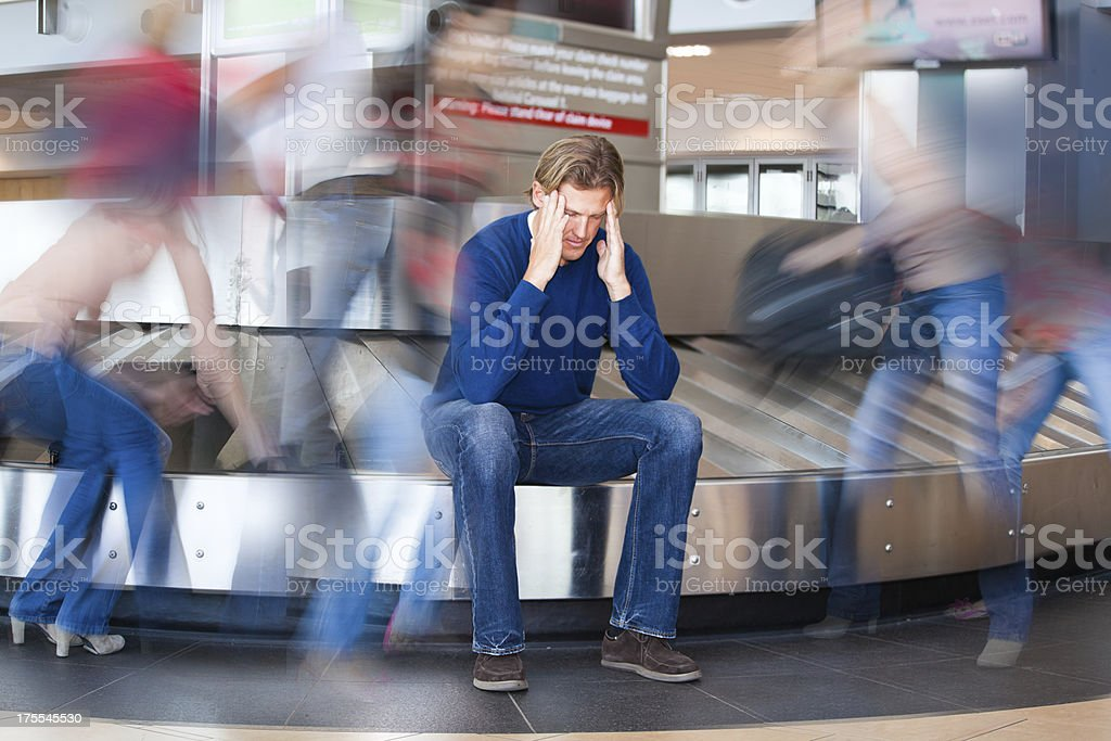 Lost baggage in airport. stock photo