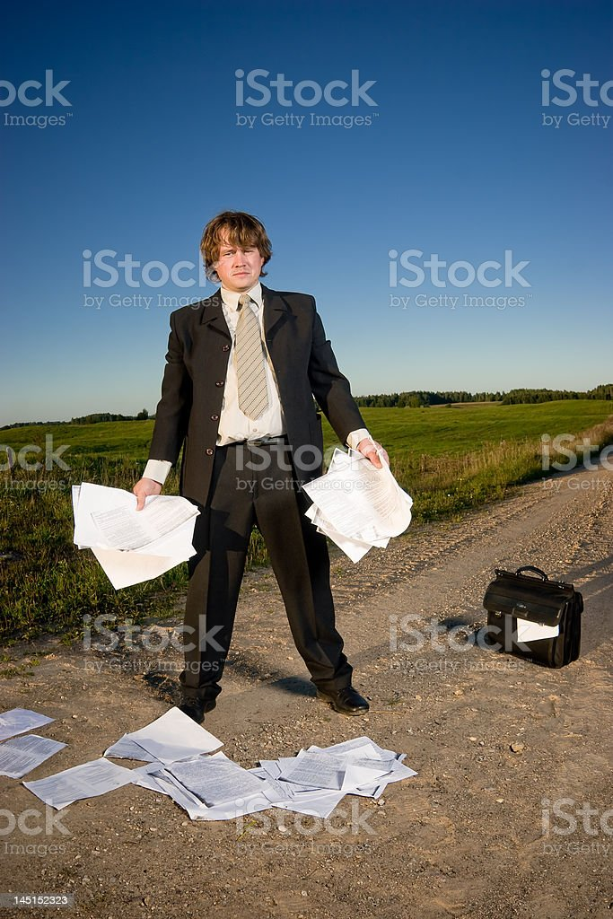 Lost businessman royalty-free stock photo