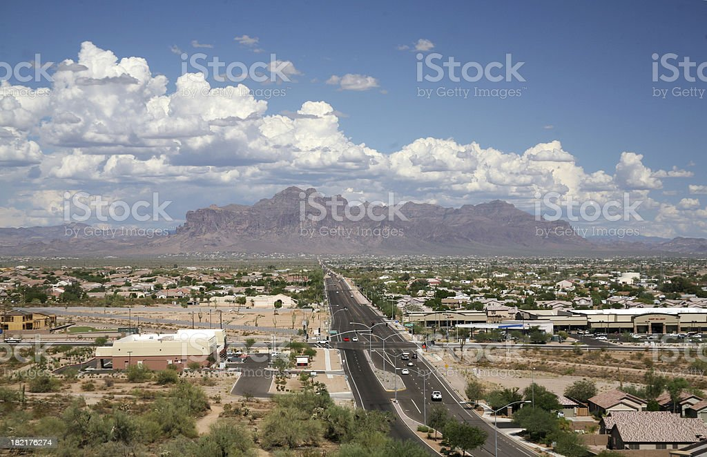 Lost Dutchman Highway in Mesa, Arizona royalty-free stock photo