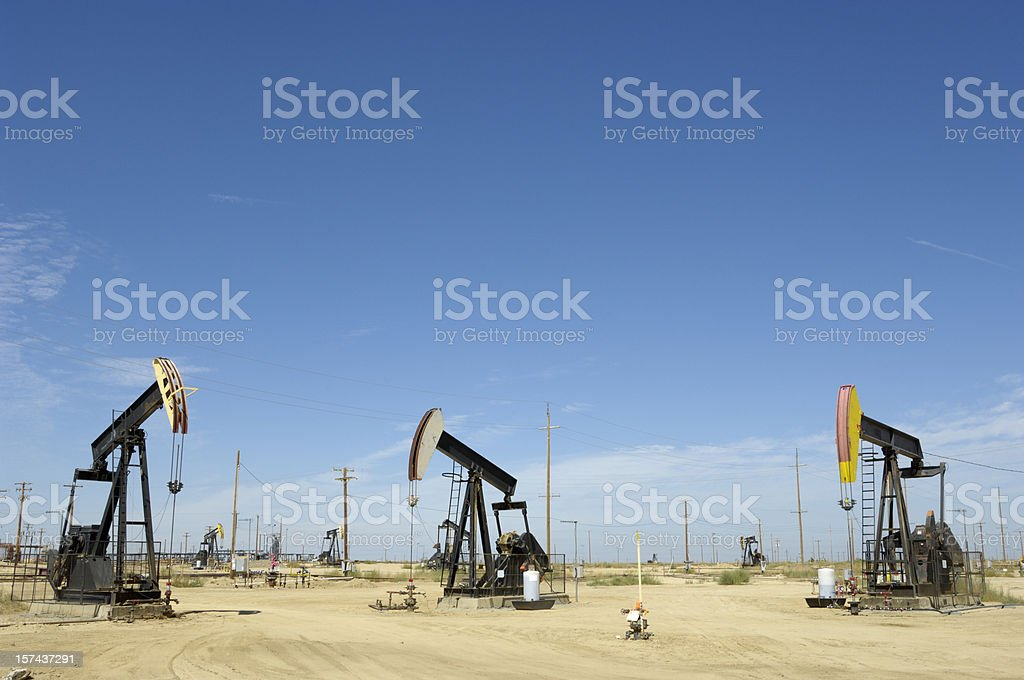 Lost Hills Oil Pumpjacks royalty-free stock photo