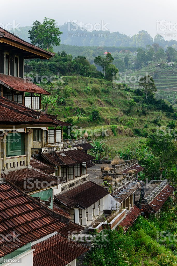 Lost hotel on the mountain stock photo