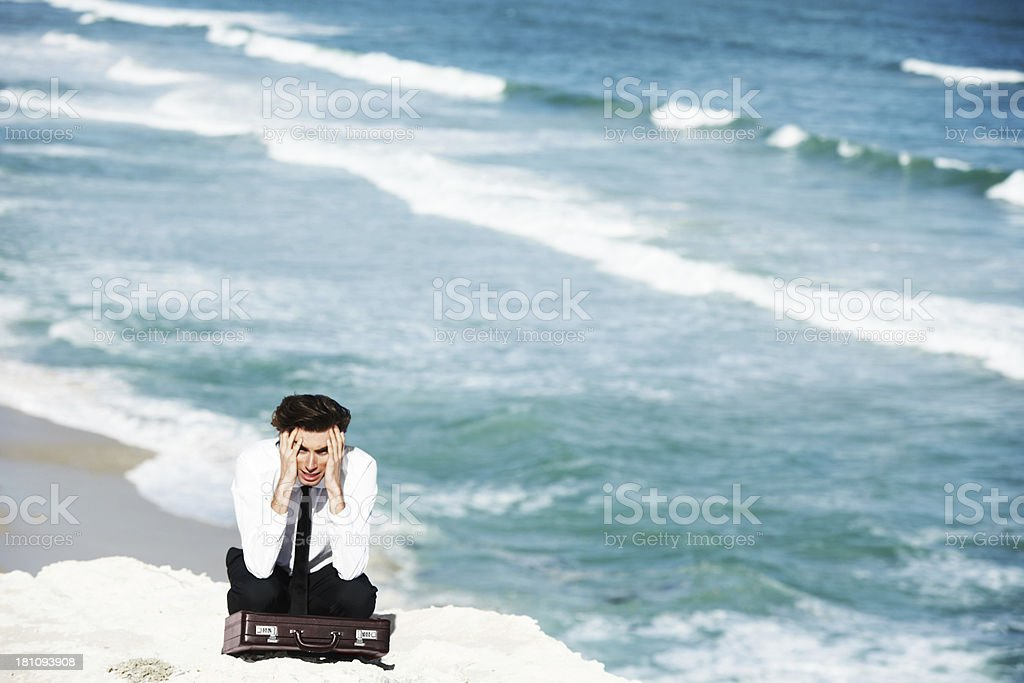 Lost in a sea of worries stock photo