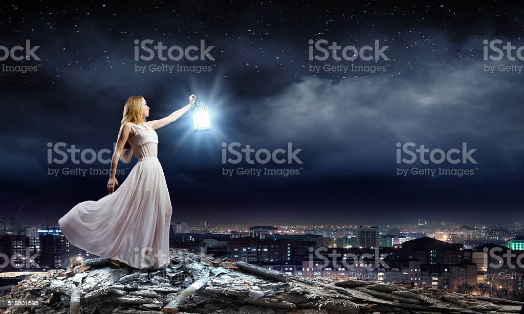 Lost in darkness stock photo