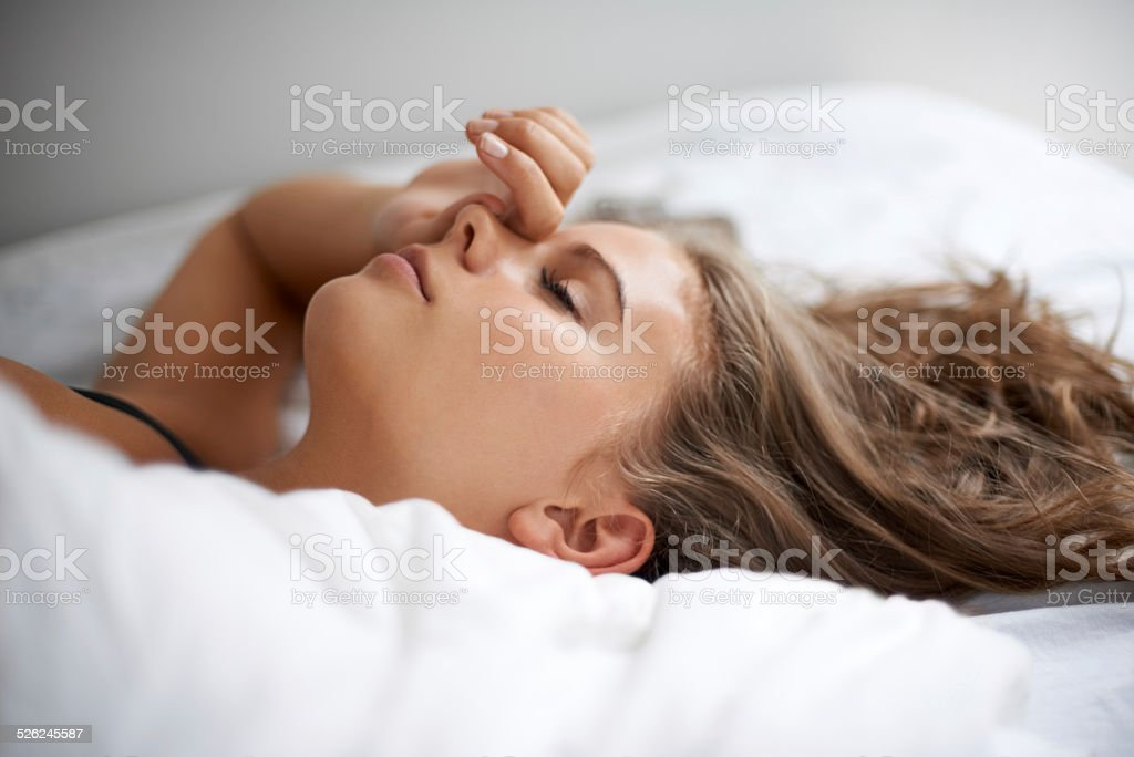 Lost in her dreams stock photo