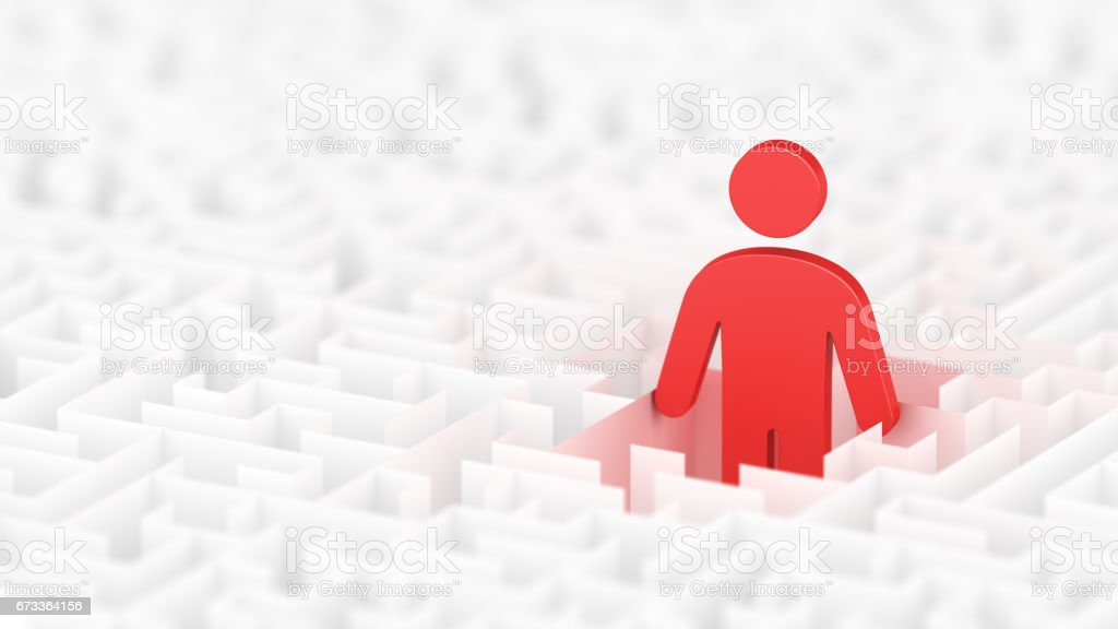 Lost in labyrinth. Finding. Businessman looking for a solution. stock photo