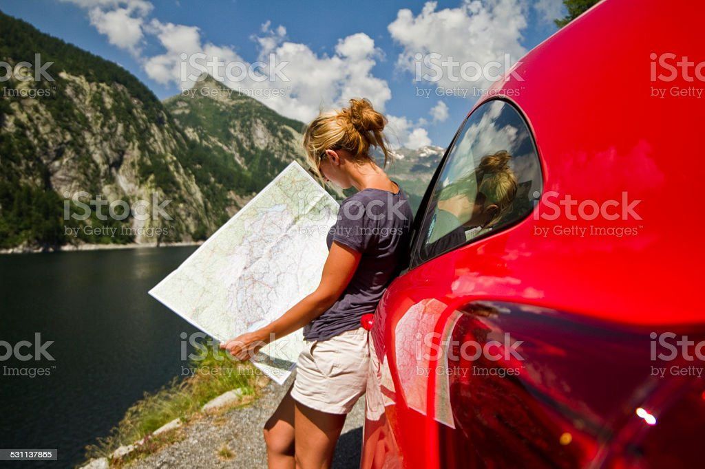 Lost in nature-Road trip stock photo