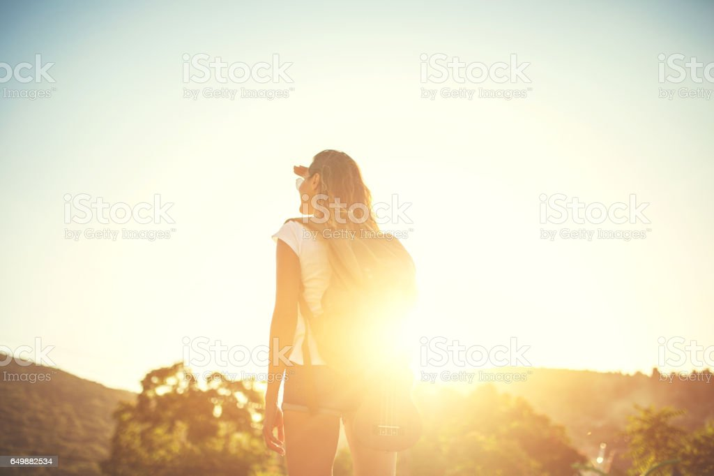 Lost in sunset stock photo