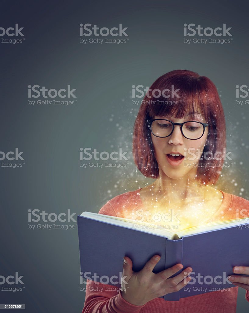 Lost in the magic of the story stock photo