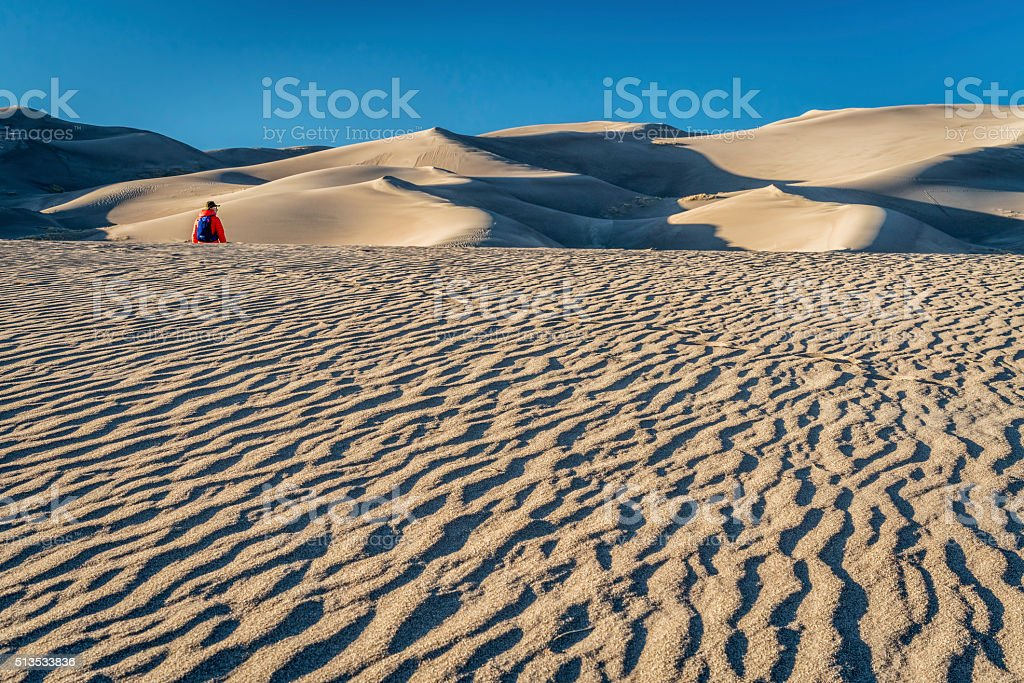 Lost in the sea of sand stock photo