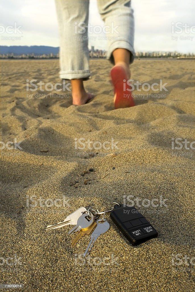 Lost keys at the beach royalty-free stock photo