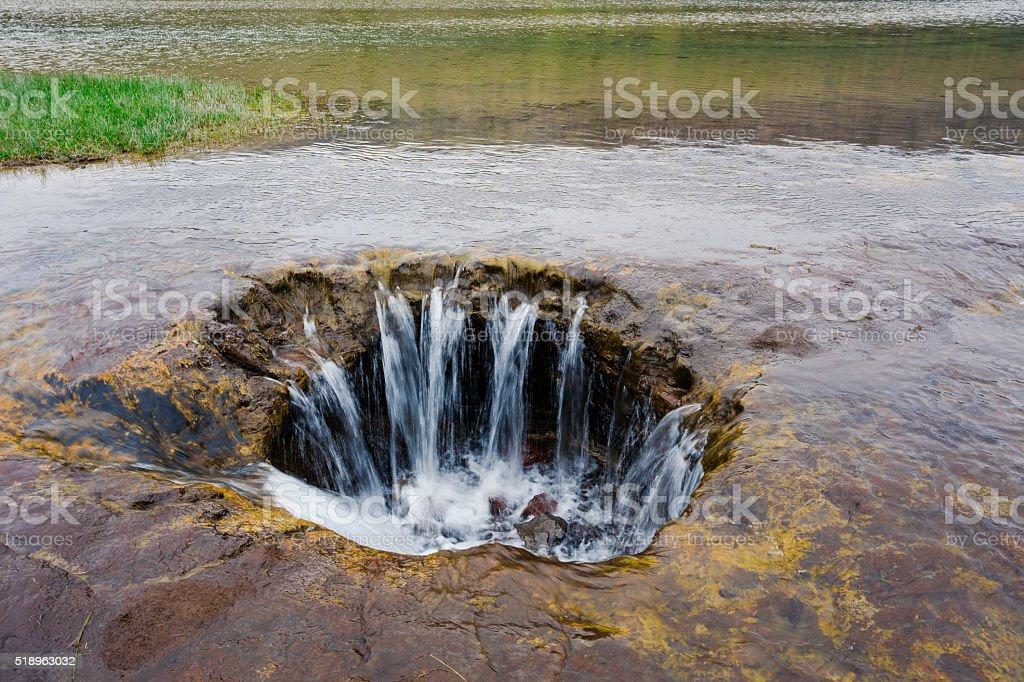 Lost Lake Lava Tube Drain in Oregon stock photo