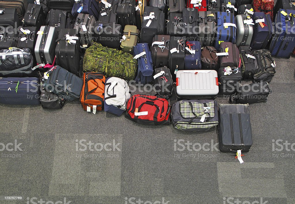 Lost luggage in the airport stock photo