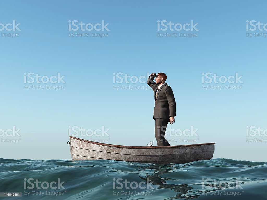 lost man in a boat stock photo