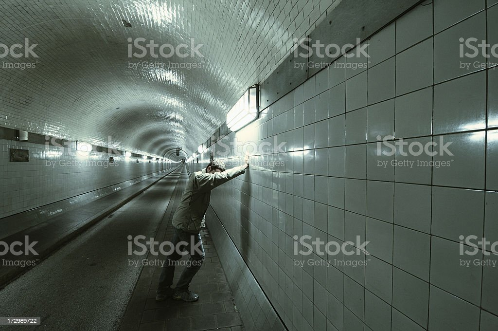 lost man in the tunnel stock photo