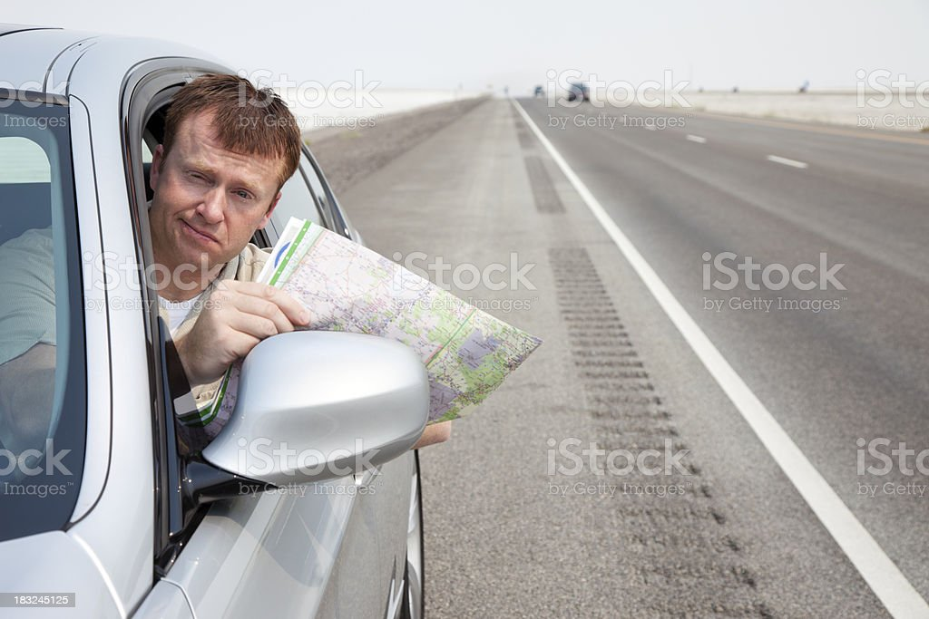 Lost Motorist royalty-free stock photo