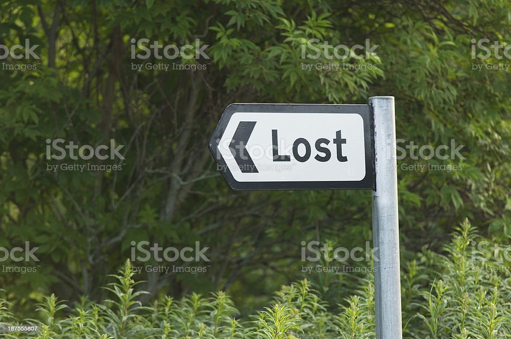 Lost road sign royalty-free stock photo