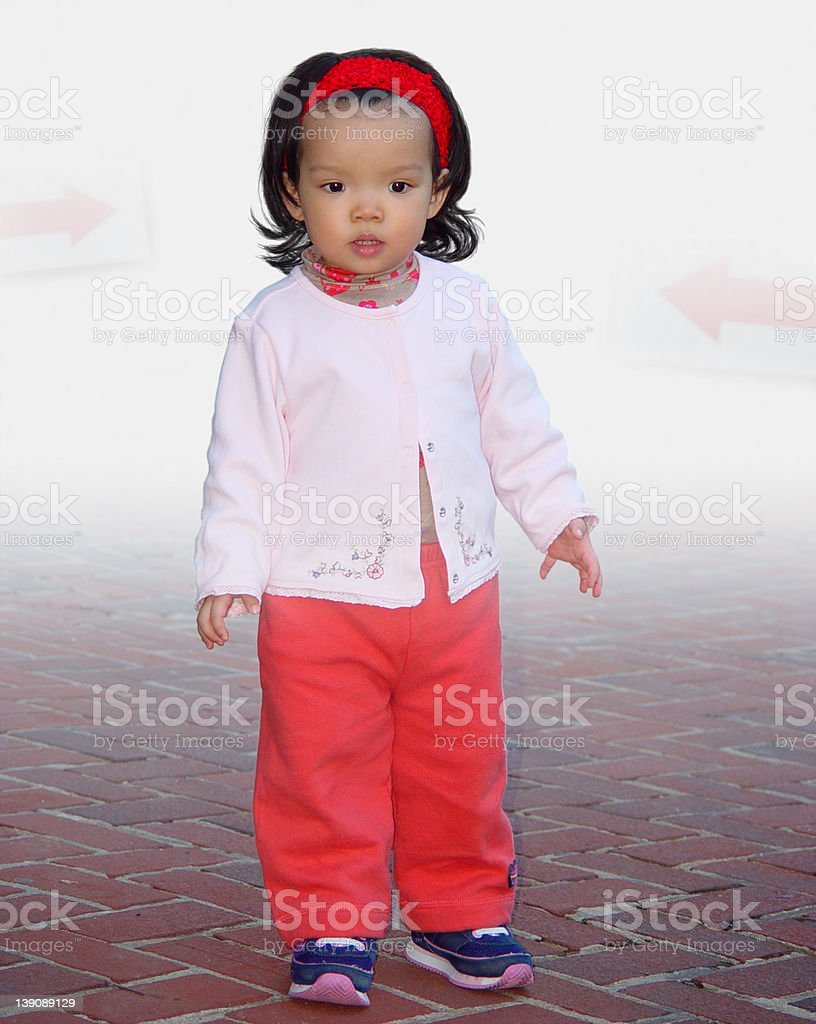 Lost toddler searching for director in the fog royalty-free stock photo