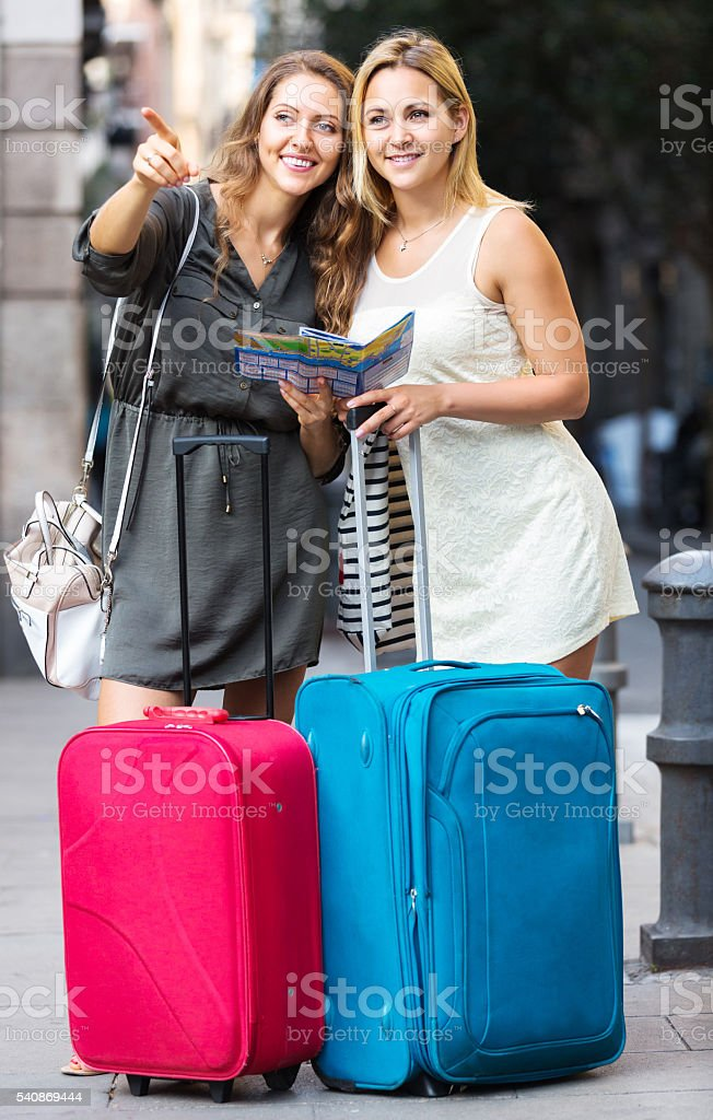 lost tourists looking for hotel stock photo