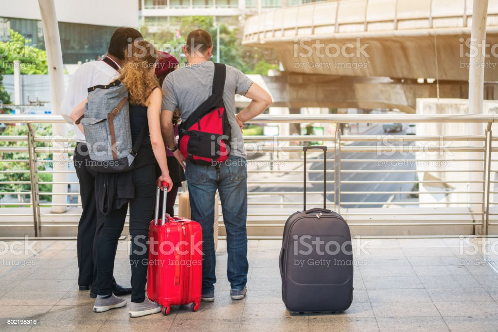 Lost traveller making call asking for help stock photo