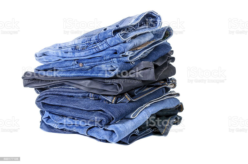 Lot of blue jeans royalty-free stock photo