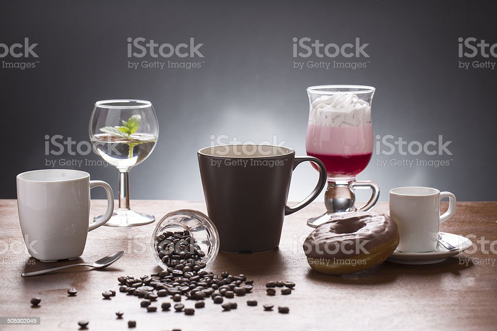 lot of caffee lot of coffee variations on the plate stock photo