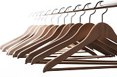 lot of clothes hangers, close up