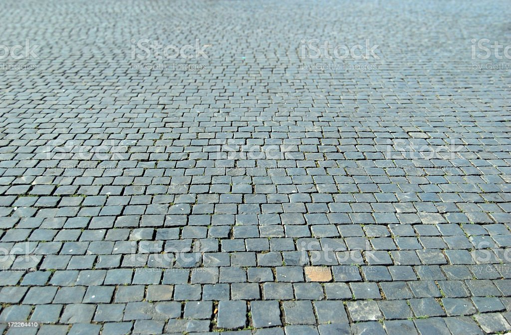 A lot of cobblestones in a street stock photo