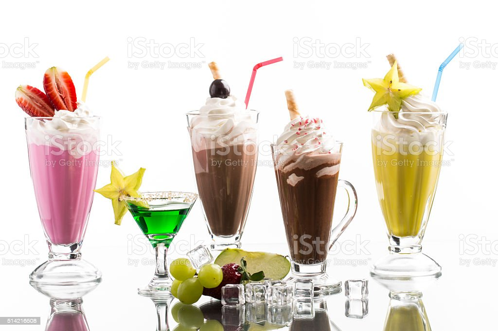 lot of cold frappes with absint cocktail stock photo