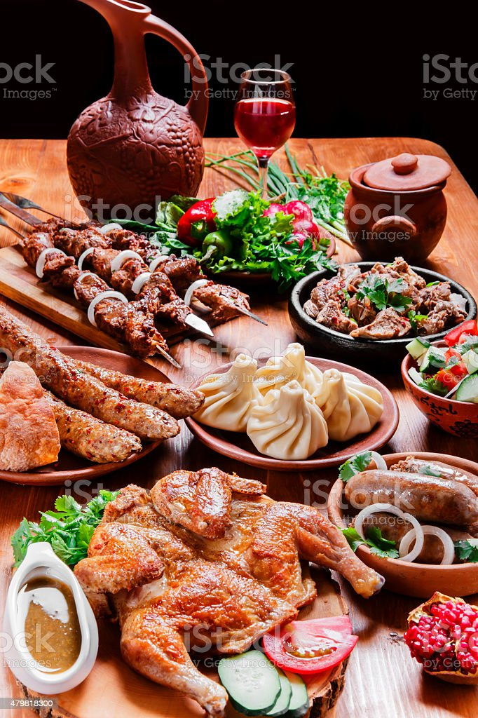 lot of different dishes on the holiday table stock photo