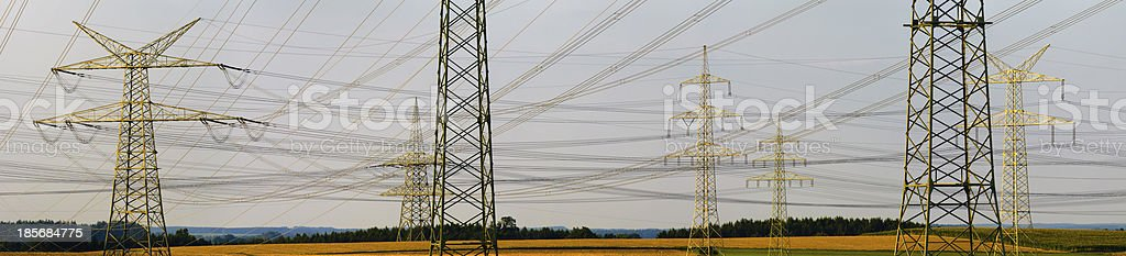 lot of electric power poles royalty-free stock photo