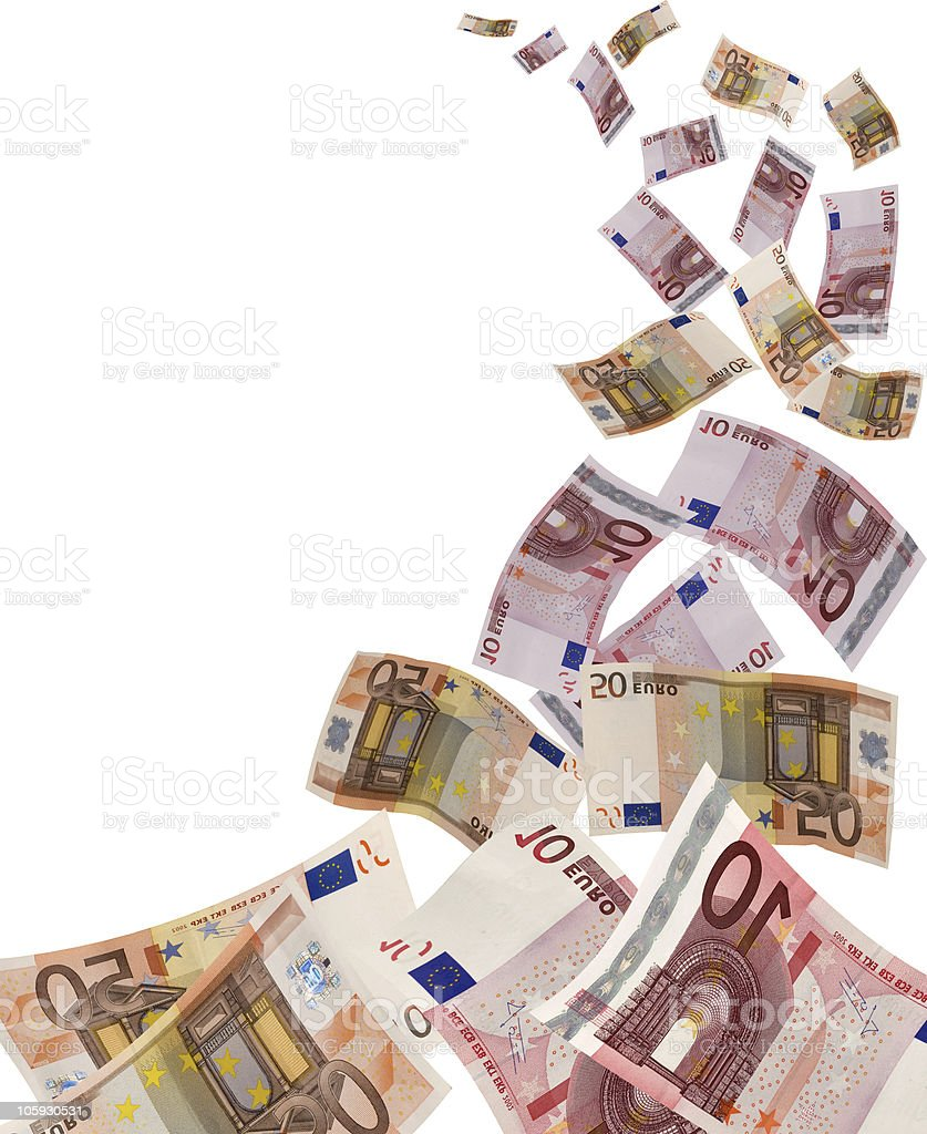 lot of euro banknote flying away royalty-free stock photo