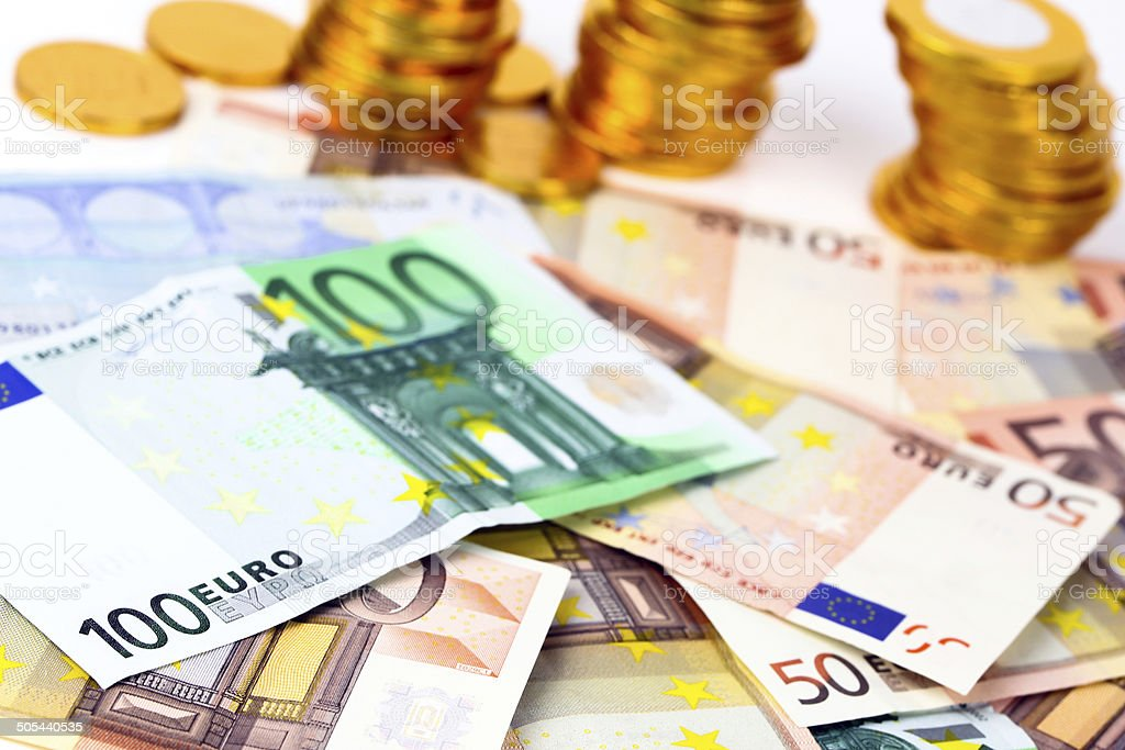Lot of euro banknotes royalty-free stock photo