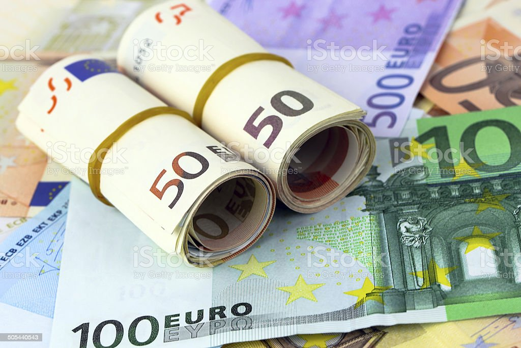 Lot of euro banknotes royalty-free stock photo