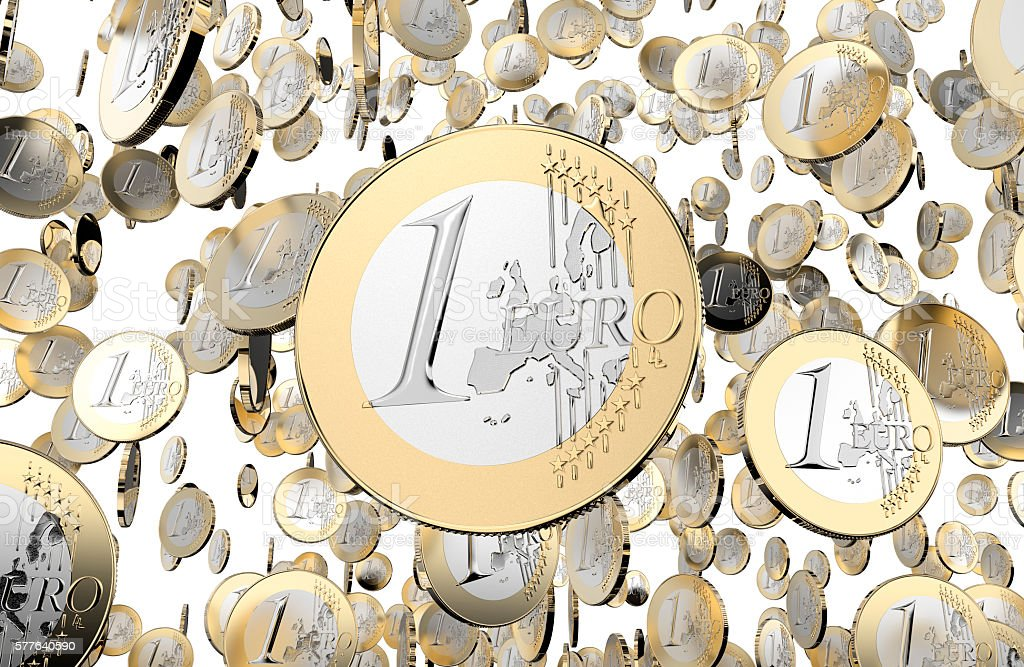 lot of euro coins isolated on white background stock photo