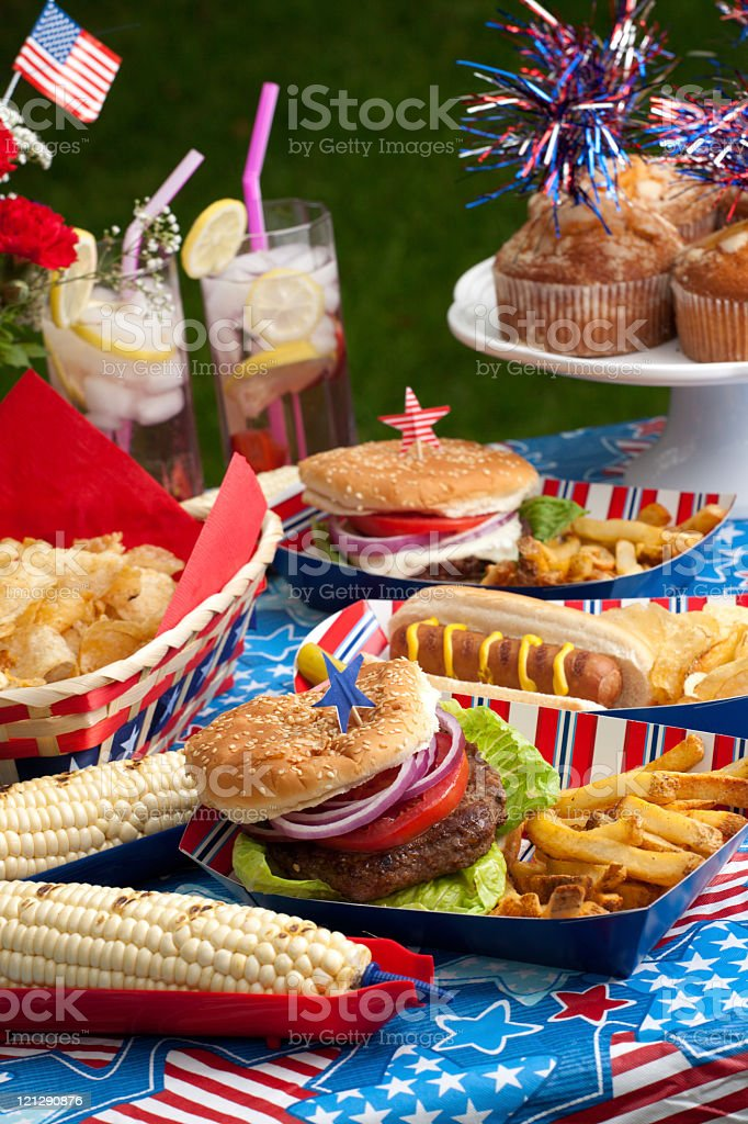 A lot of food for a picnic on the Fourth of July royalty-free stock photo