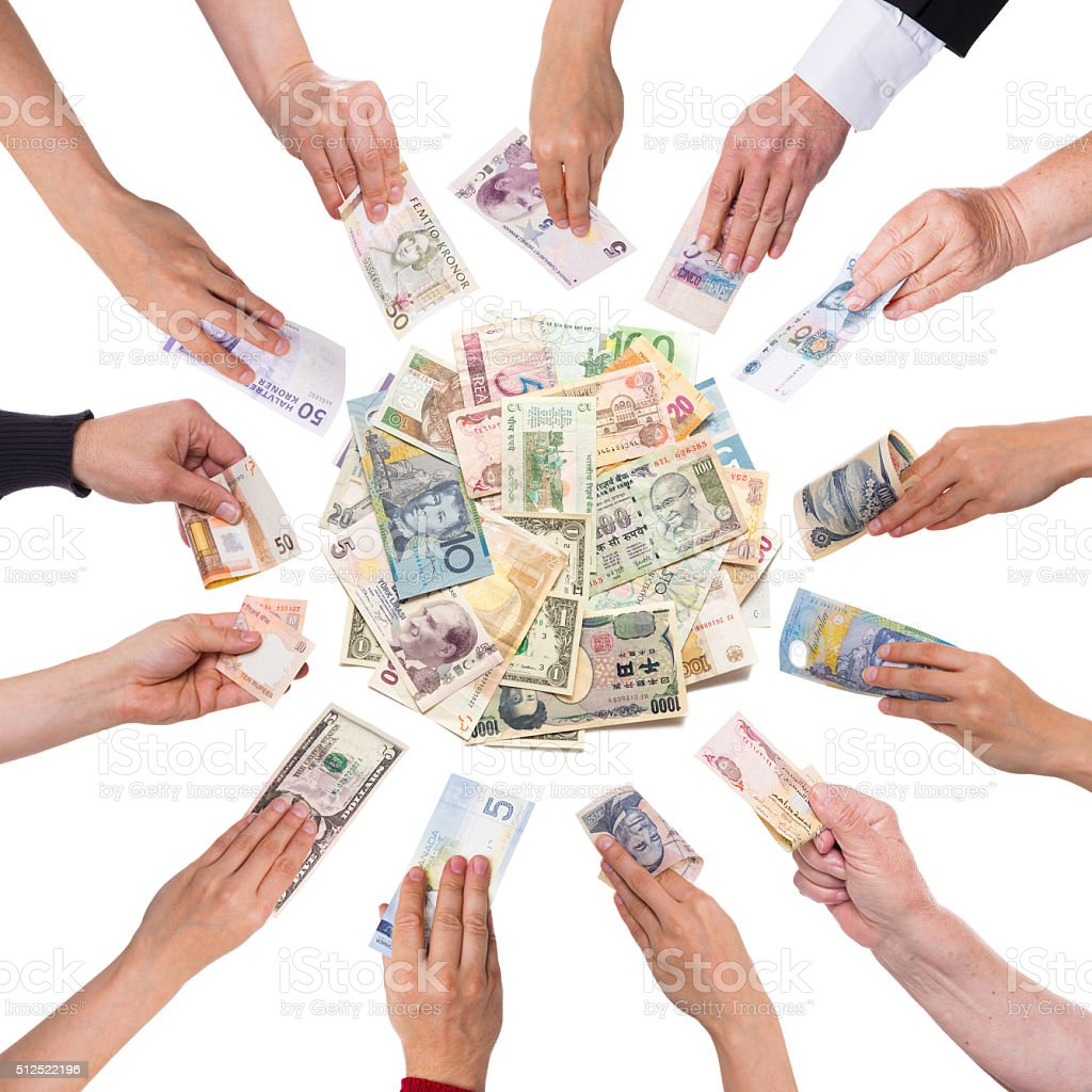 lot of hands giving money stock photo
