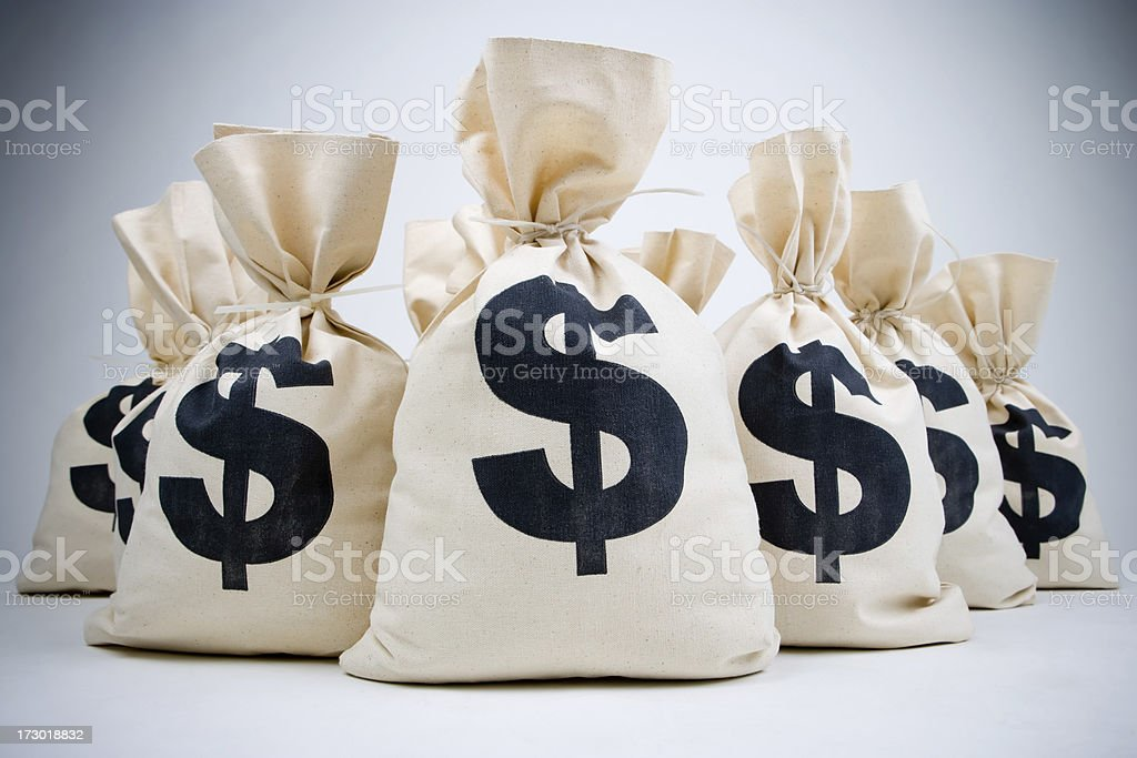 lot of money bags stock photo