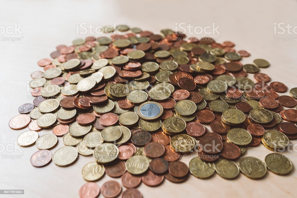A lot of money, euro coins stock photo