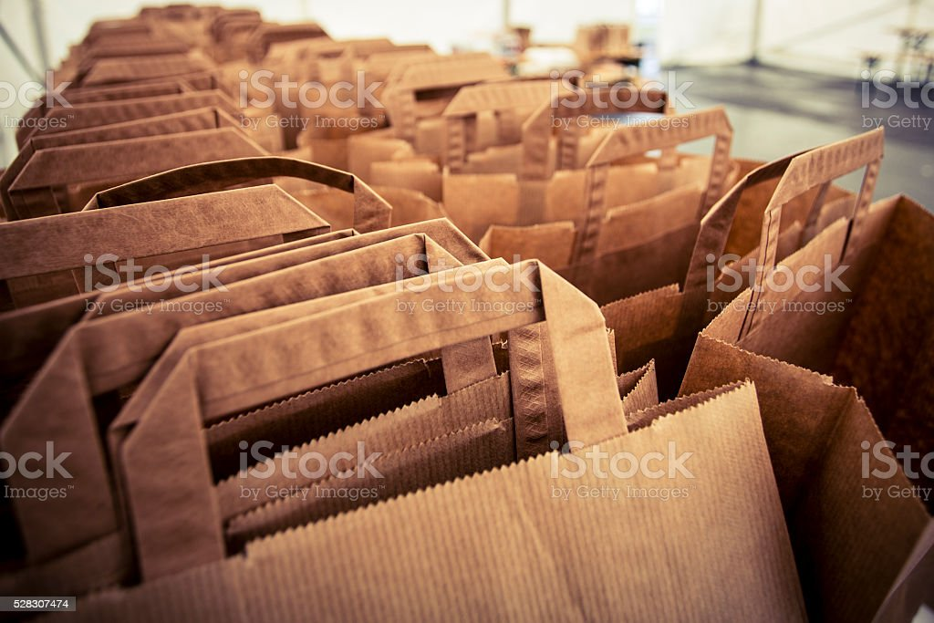 lot of paper bags stock photo