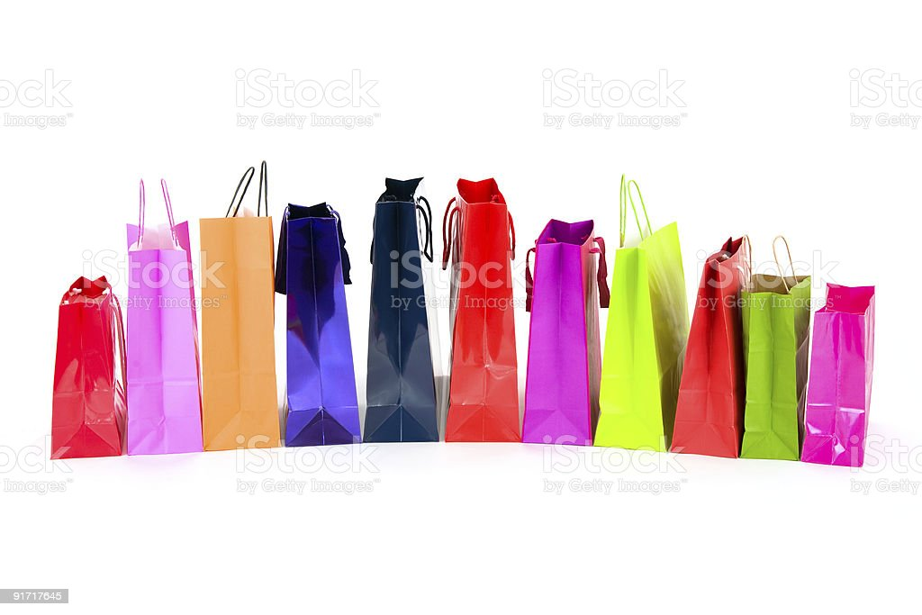 Lot of shopping bags in a row royalty-free stock photo