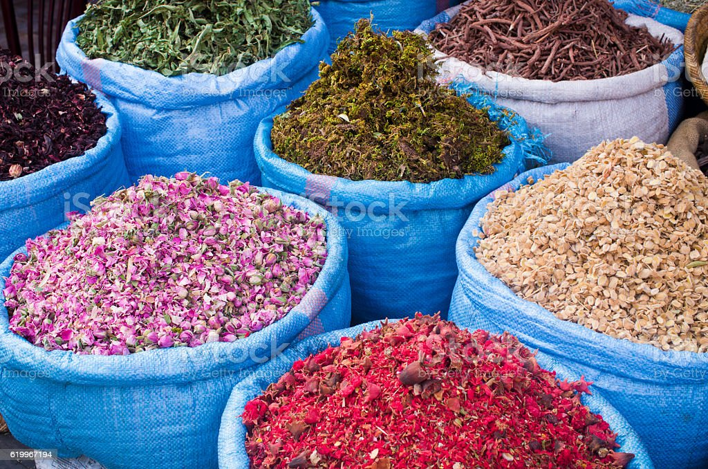 Lot of spices on the market in Morocco stock photo