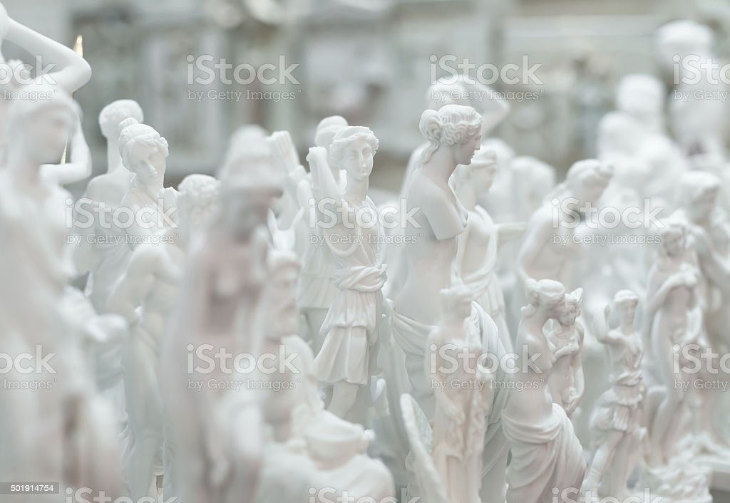 Lot of statues of Greek gods. stock photo