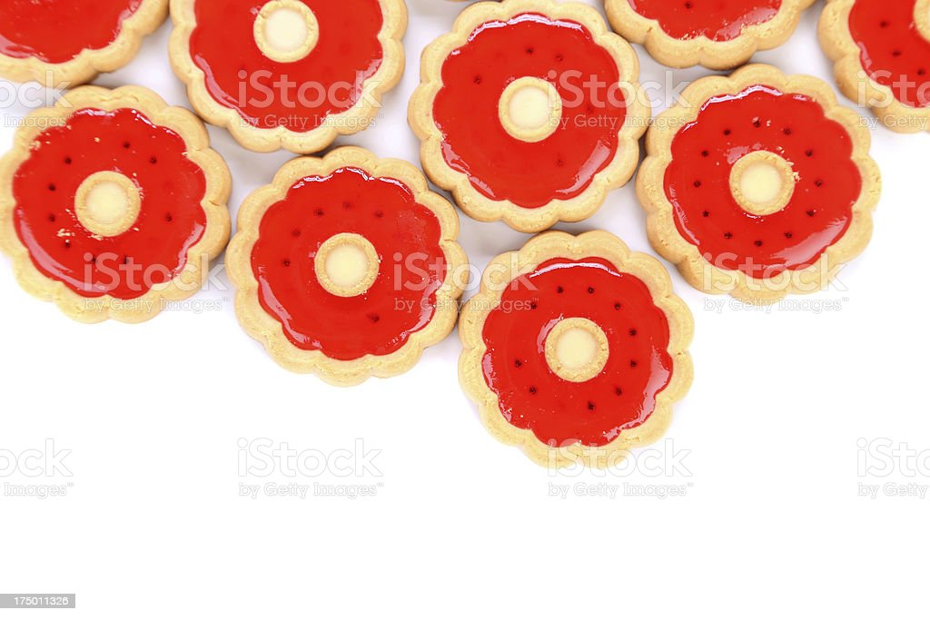 Lot of strawberry biscuits. royalty-free stock photo