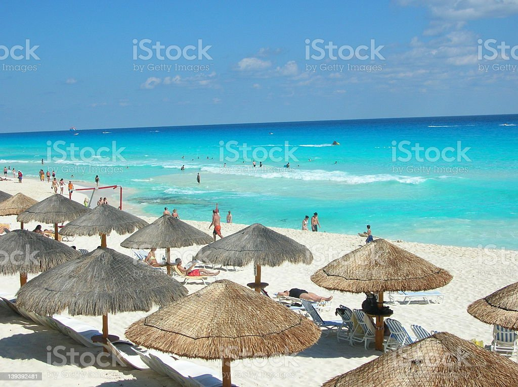 A lot of tourism occurs on Cancun Beach, New Mexico  royalty-free stock photo